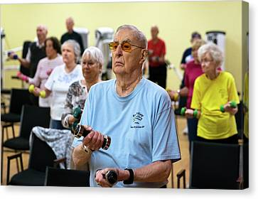 Exercise Class For Active Elderly Canvas Print