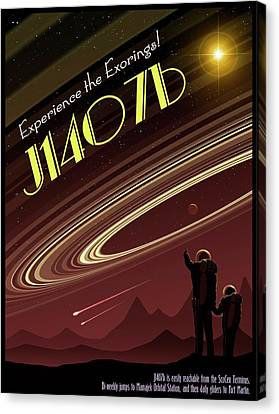 Exoring J1407b - Travel Poster Canvas Print by Mark Garlick