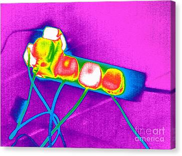 False Power Canvas Print - Extension Lead, Thermogram by Tony McConnell