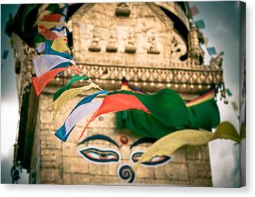 Eye Boudhanath Stupa In Nepal Canvas Print by Raimond Klavins