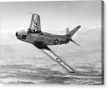 Canvas Print featuring the photograph F-86 Sabre, First Swept-wing Fighter by Science Source