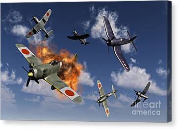 F4u Corsair Aircraft And Japanese Canvas Print
