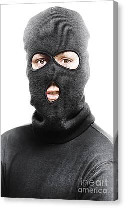 Face Of A Burglar Wearing A Ski Mask Or Balaclava Canvas Print