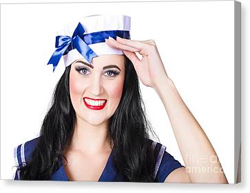 Sexy Brunette Women Canvas Print - Face Of A Cute Pinup Girl Saluting In Sailor Style by Jorgo Photography - Wall Art Gallery