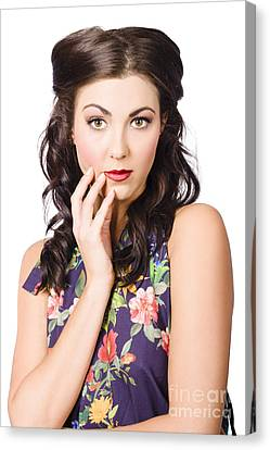 Wavy Canvas Print - Face Of A Female Beauty With Flawless Makeup  by Jorgo Photography - Wall Art Gallery