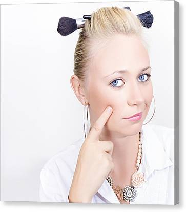 Face Of A Funny Hair And Make-up Model Canvas Print by Jorgo Photography - Wall Art Gallery