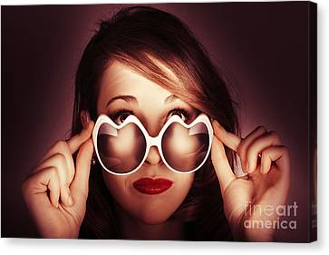 Face Of Cool Fashion Woman In Retro Summer Love Canvas Print by Jorgo Photography - Wall Art Gallery