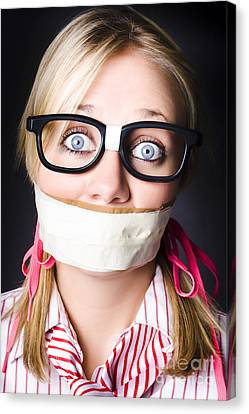 Face Of Nerdy Geek Gobsmacked By Silence Canvas Print by Jorgo Photography - Wall Art Gallery