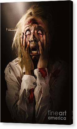 Facing Dark Horror. Dying Zombie Screaming In Fear Canvas Print by Jorgo Photography - Wall Art Gallery