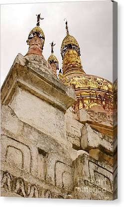 Fading Stupa Gilding Of Small Monastery Near West Pwazaw Village Bagan Burma Canvas Print by Ralph A  Ledergerber-Photography