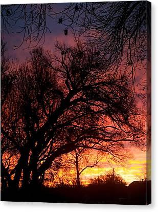 Canvas Print featuring the photograph Fall Fire by Roseann Errigo