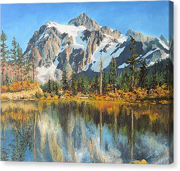 Canvas Print featuring the painting Fall Reflections - Cascade Mountains by Mary Ellen Anderson