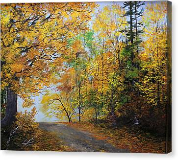 Fall Road Canvas Print by Ken Ahlering