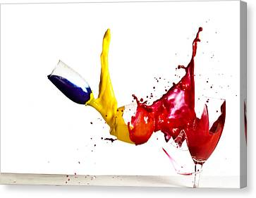 Highspeed Canvas Print - Falling Glasses Of Paint by Guy Viner