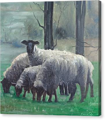 Canvas Print featuring the painting Family Of Sheep by John Reynolds