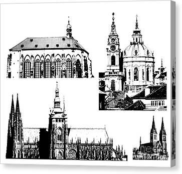 famous landmarks of Prague Canvas Print by Michal Boubin