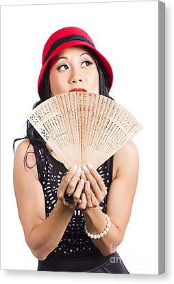 Fan Of Asia. Stylish Chinese Lady With Oriental Fan Canvas Print by Jorgo Photography - Wall Art Gallery