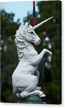 Unicorns Canvas Print - Fantasy Beast At Tudor Gardens by David Wall