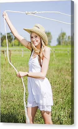 Farming Woman With Rope Canvas Print by Jorgo Photography - Wall Art Gallery