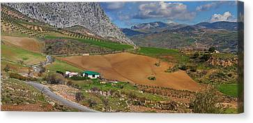 Farmland At The Edge Of El Torcal Canvas Print by Panoramic Images