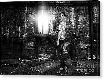 Fashion Model In Jeans  Canvas Print by Milan Karadzic
