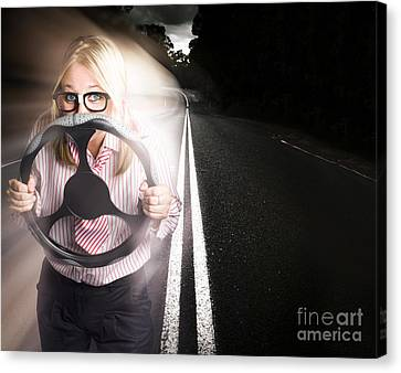 Fast Business Woman Driving Car With Light Trails Canvas Print by Jorgo Photography - Wall Art Gallery