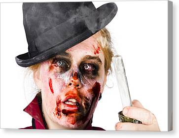 Fearful Zombie Woman Holding Blown Out Candle Canvas Print by Jorgo Photography - Wall Art Gallery