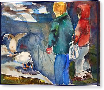 Feeding The Ducks Canvas Print by Mindy Newman
