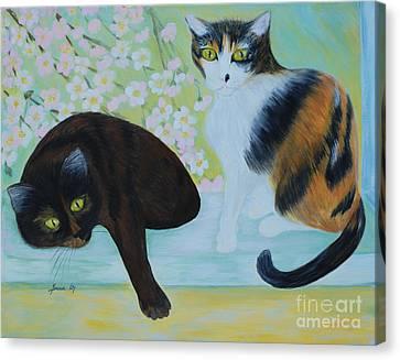 Feline Friends. Inspirations Collection. Canvas Print by Oksana Semenchenko