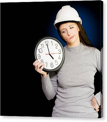 Female Architectural Engineer Watching Time Pass Canvas Print by Jorgo Photography - Wall Art Gallery