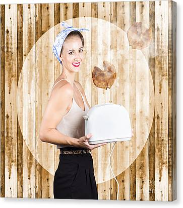 Female Breakfast Waiter With Hot Toast In Toaster Canvas Print by Jorgo Photography - Wall Art Gallery