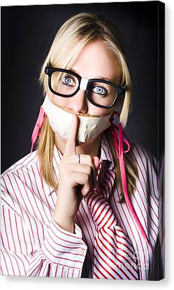 Female Business Nerd With Quiet Gesture Canvas Print by Jorgo Photography - Wall Art Gallery