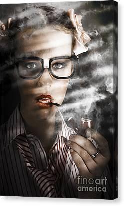 Female Business Spy With Smoke Near Window Blinds Canvas Print by Jorgo Photography - Wall Art Gallery