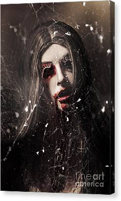 Female Face Of Dark Horror. Eye Of The Black Widow Canvas Print by Jorgo Photography - Wall Art Gallery