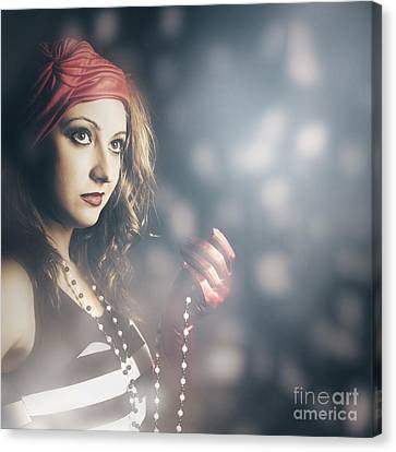 Female Fashion Model Holding Jewelry Necklace Canvas Print by Jorgo Photography - Wall Art Gallery