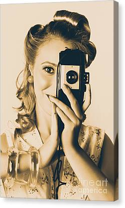 Female Fashion Photographer Taking People Pictures Canvas Print