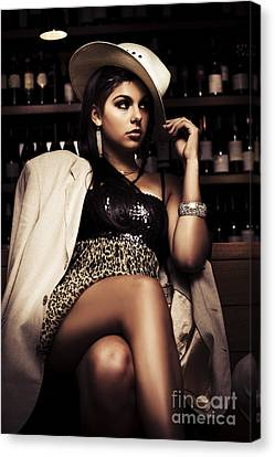 Sombre Canvas Print - Female Mobster Seated At Dark Bar by Jorgo Photography - Wall Art Gallery