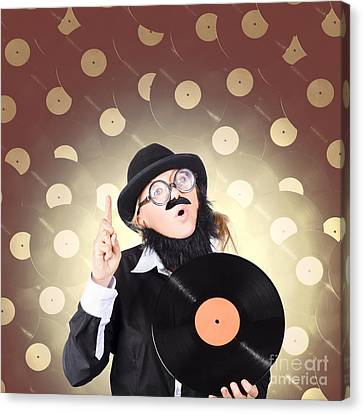Female Model On Music High Holding Lp Vinyl Record Canvas Print by Jorgo Photography - Wall Art Gallery