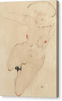 Female Nude Canvas Print by Egon Schiele