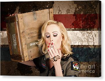 Female Pin-up Solider Smoking Cigarette Ration Canvas Print by Jorgo Photography - Wall Art Gallery