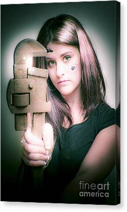 Female Plumber With Wrench Canvas Print by Jorgo Photography - Wall Art Gallery