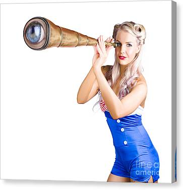 Youthful Canvas Print - Female Sailor With Telescope by Jorgo Photography - Wall Art Gallery
