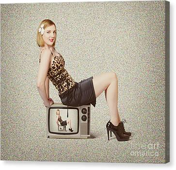 Female Television Show Actress On Old Tv Set Canvas Print