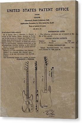 Fender Guitar Patent Canvas Print by Dan Sproul