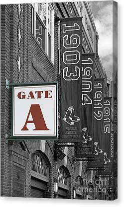 Fenway Park Gate A Canvas Print by Jerry Fornarotto