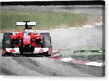 Ferrari F1 Race Watercolor Canvas Print by Naxart Studio