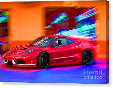 Canvas Print featuring the photograph Ferrari by Gunter Nezhoda