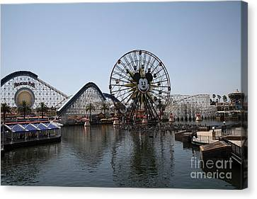 Ferris Wheel And Roller Coaster - Paradise Pier - Disney California Adventure - Anaheim California - Canvas Print by Wingsdomain Art and Photography