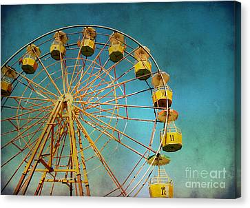 Canvas Print featuring the photograph Ferris Wheel With Grunge Effect by Mohamed Elkhamisy