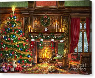 Festive Fireplace Canvas Print by Dominic Davison